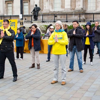 LONDON, UK, Sunday 24 April 2016 Commemorating April 25th 1999. The first peaceful appeal against the persecution of Falun Gong in China. PHOTOS: Si Gross